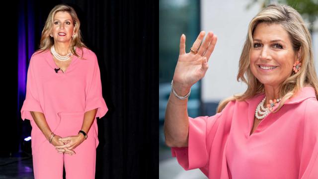 Rainha Máxima deslumbra com visual totalmente cor de rosa