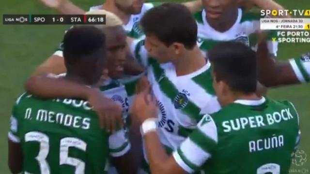 Jovane inaugurou marcador no Sporting-Santa Clara com este golo