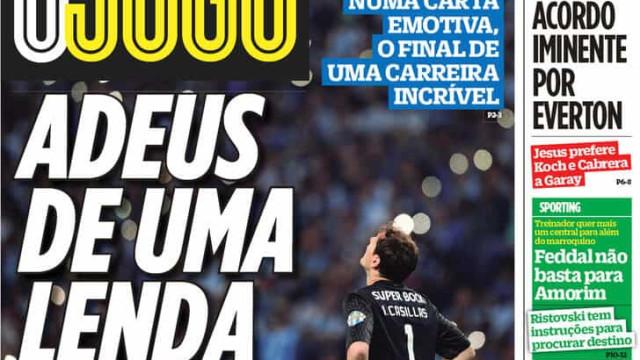 """Por cá: Casillas diz """"adeus"""" e Cebolinha não escapa ao Benfica"""