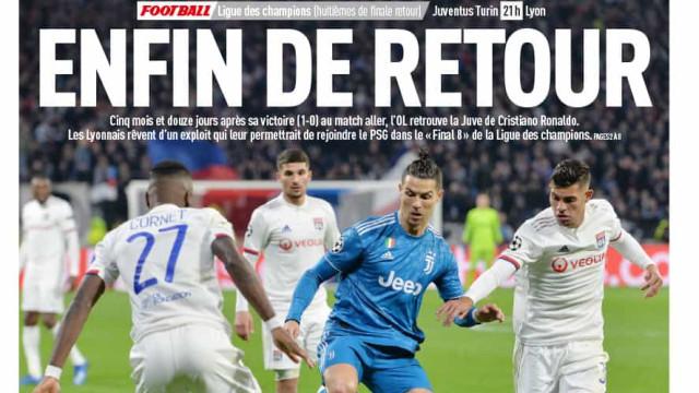 Lá fora: Cristiano Ronaldo é a 'cara' do regresso da Champions
