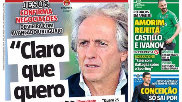 """Por cá: Do """"novo testamento"""" de Jorge Jesus à promessa de Uribe"""