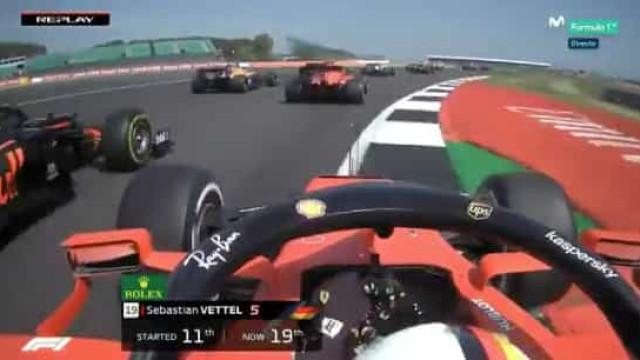 Não podia começar pior. Vettel despistou-se logo na primeira curva