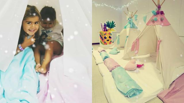 Carolina Patrocínio mostra detalhes de festa do pijama das filhas