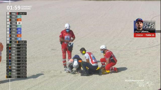 Miguel Oliveira sofre queda aparatosa em Misano
