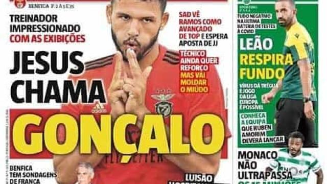 Por cá: JJ chama Gonçalo Ramos e troca de goleadores no Dragão