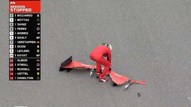 Vettel despistou-se e acabou por ajudar a limpar os destroços da pista