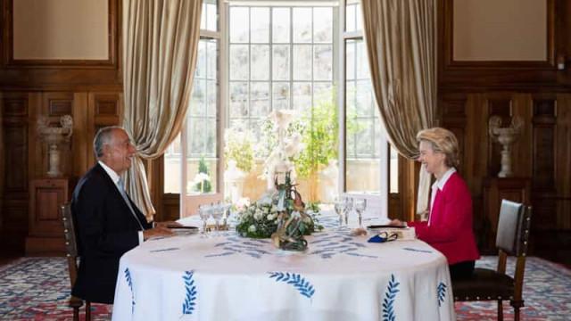 As imagens do almoço entre Von der Leyen e Marcelo Rebelo de Sousa