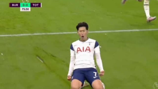 O golo de Son que deu a vitória ao Tottenham sobre o Burnley