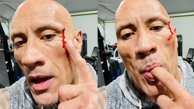 Dwayne Johnson prova o próprio sangue após magoar-se no ginásio