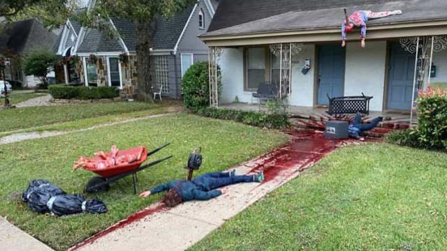 Decoração de Halloween é tão real, que polícia já foi chamada ao local