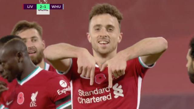 Diogo Jota, o novo herói de Liverpool. Eis o golo que derrotou o West Ham