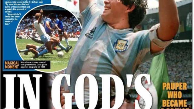 Lá fora: El Pibe nas mãos de Deus e as capas da discórdia em Inglaterra