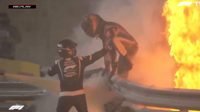 Grosjean sofre acidente violento e carro fica em chamas no GP do Bahrein