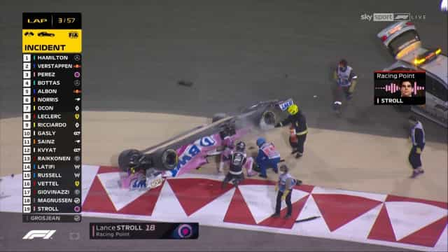 Mais um acidente no Bahrain. Lance Stroll ficou de pernas para o ar