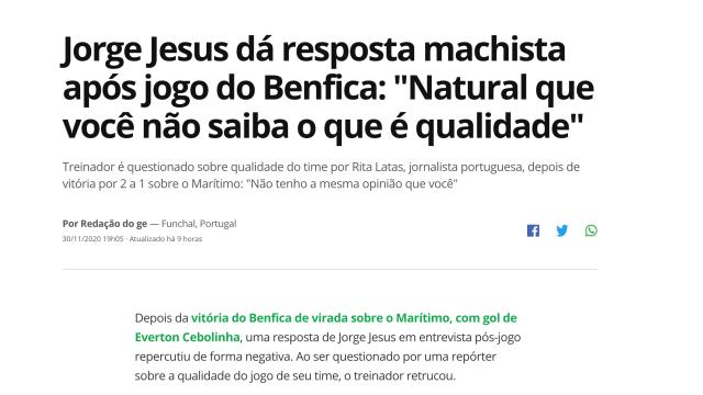 """Imprensa brasileira aponta o dedo a """"resposta machista"""" de Jorge Jesus"""
