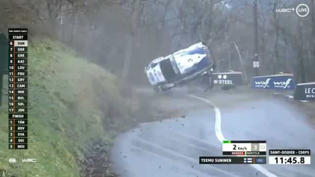 Susto no WRC: Suninen sofre aparatoso acidente no regresso do Mundial