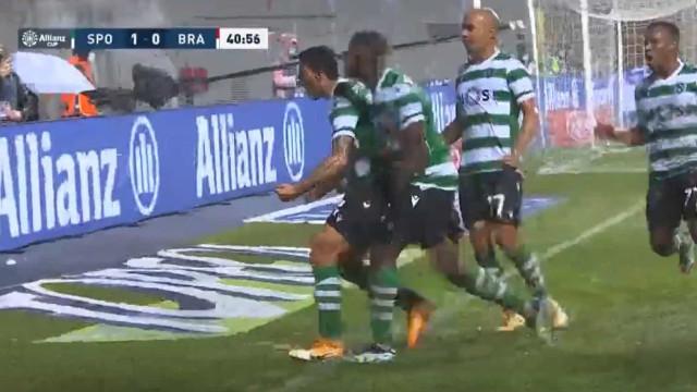 O remate cruzado de Porro que inaugurou o marcador no Sp. Braga-Sporting