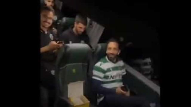 Festa no autocarro do Sporting: Rúben Amorim até deu passo de dança