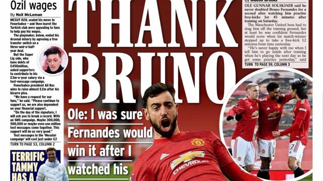 Lá fora: Bruno Fernandes 'rouba' manchetes e deixa Klopp em desespero