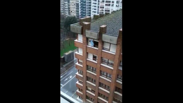 "Empregada filmada a limpar janela num 7.º andar. ""De pôr cabelos em pé"""
