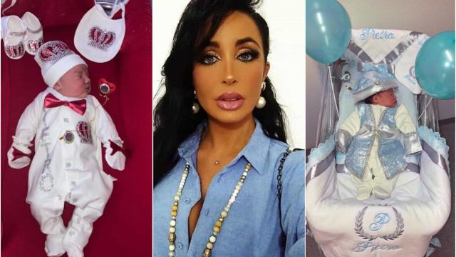 Juliana Dias mostra novos looks pomposos do filho recém-nascido