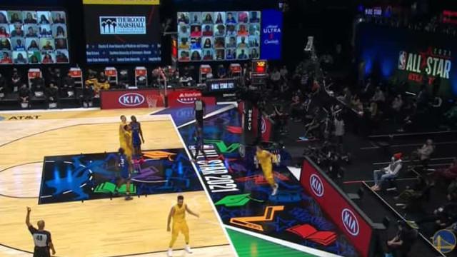 Três pontos... sem sequer olhar. O novo truque de Stephen Curry