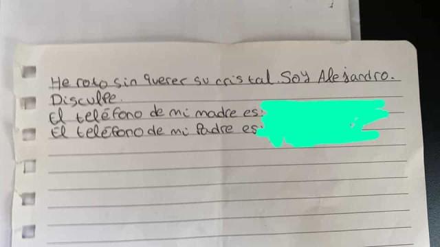 "Mãe de menino que deixou nota após partir vidro reage: ""Impacto tremendo"""