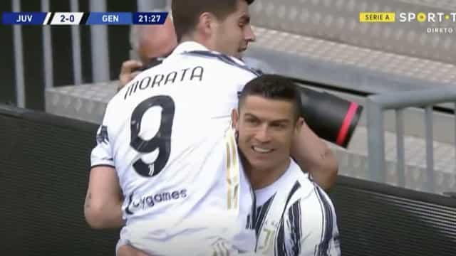 Ronaldo atirou ao poste, mas estava lá Morata para marcar