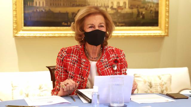 Rainha Sofía aparece deslumbrante em reunião de trabalho