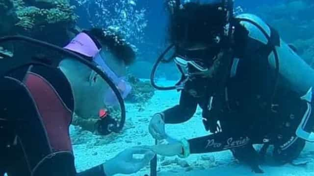 Pede namorada em casamento durante mergulho a 11 metros de profundidade