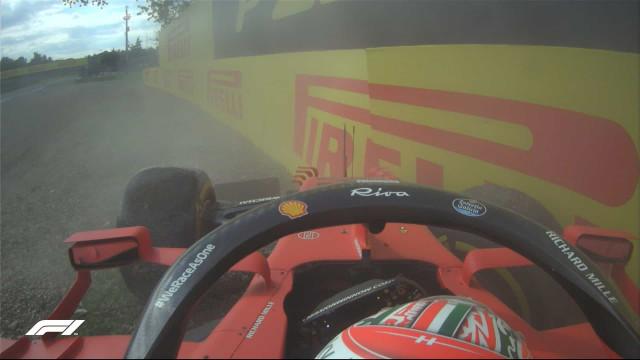 Leclerc termina segunda sessão de treinos livres em Imola no muro