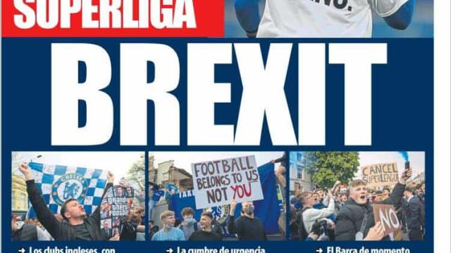 Lá fora: 'Brexit' da Superliga Europeia domina atenções