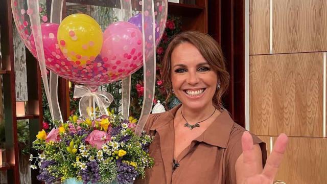 O look de Tânia Ribas de Oliveira para a festa no 'A Nossa Tarde'