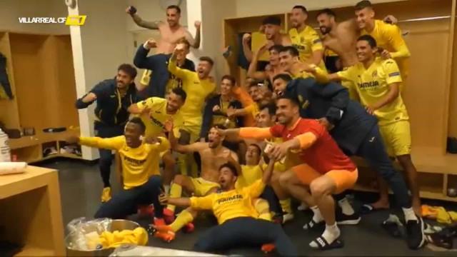 A festa do Villarreal pelo apuramento para a final da Liga Europa