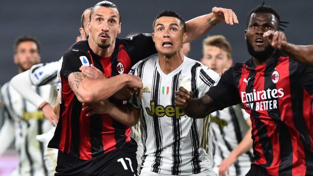 A Juve é uma calamidade. Milan atira CR7 para fora dos postos Champions