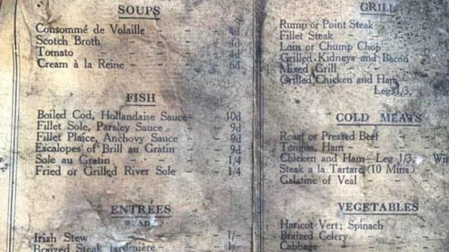 Menu de 1913 encontrado em restaurante durante renovações