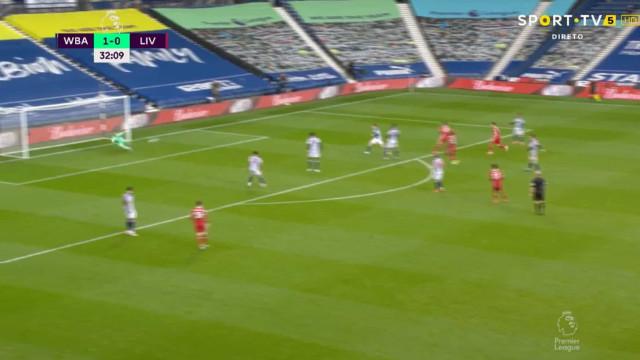 O golaço de Salah que devolveu o empate ao WBA-Liverpool