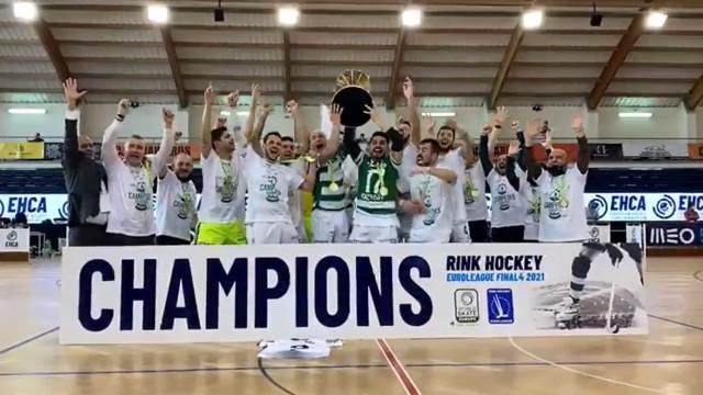A festa do Sporting após conquistar a Liga Europeia de hóquei em patins