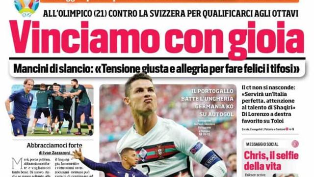 """Lá fora: Cristiano Ronaldo, """"o senhor do Euro"""", no centro das atenções"""
