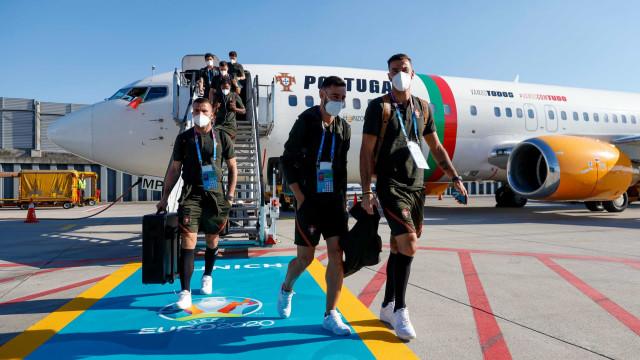 As imagens da chegada da seleção nacional a Munique