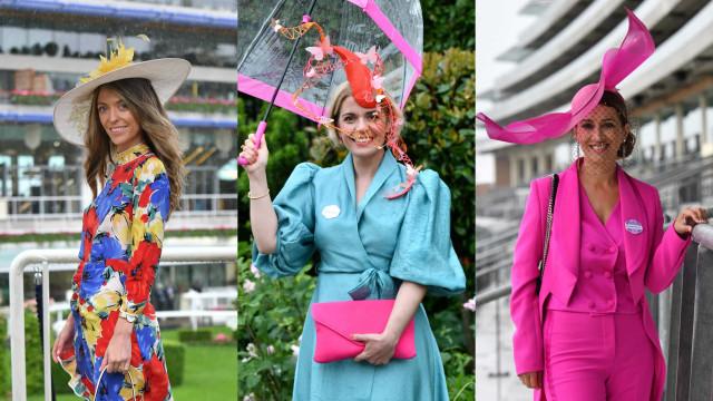 Modelitos coloridos fazem frente à chuva no 4.º dia do Royal Ascot