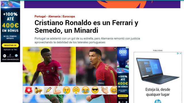 """A derrota de Portugal vista lá fora: """"O Ferrari Ronaldo"""" não chega"""