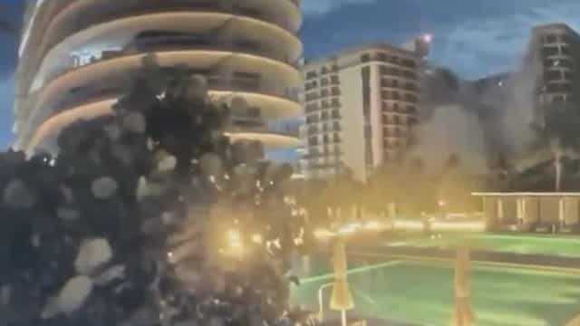 O momento em que prédio colapsou perto de Miami. Há pelo menos 4 mortos