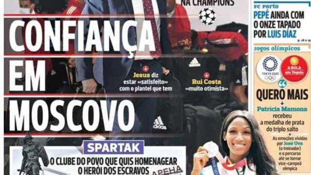 Por cá: Benfica chega a Moscovo e o mercado não para em Portugal