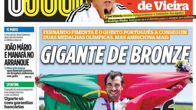 """Por cá: Fernando Pimenta dá o """"beijo de bronze"""" e Benfica busca milhões"""
