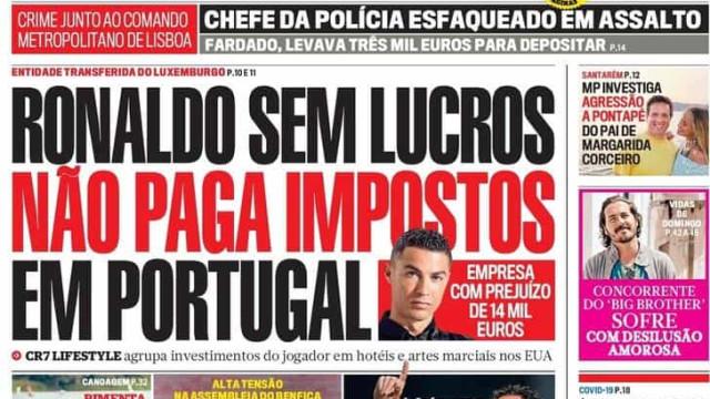 Hoje é notícia: Ronaldo não paga impostos em Portugal; Pais contra filhos
