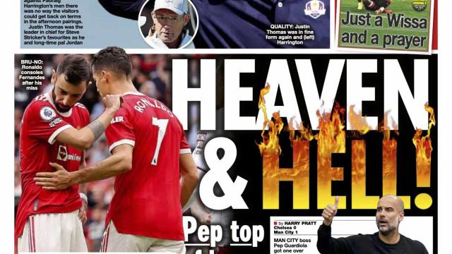 """Lá fora: """"Inferno"""" em Old Trafford e """"apagão"""" no Santiago Bernabéu"""