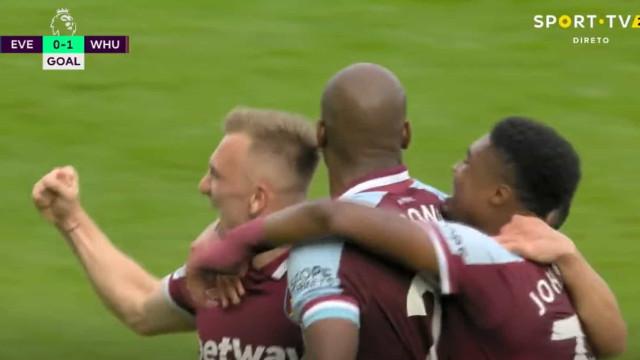 O golo do West Ham que ditou a primeira derrota caseira do Everton