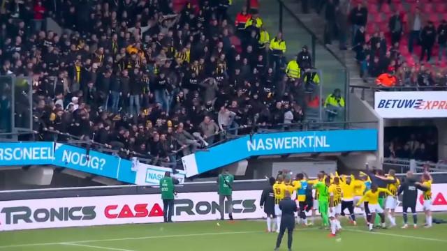 Adeptos do Vitesse festejaram efusivamente e fizeram ruir a bancada