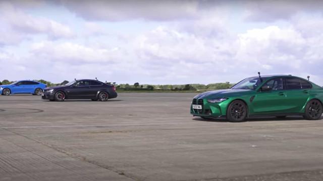 Luta de alemães. A drag race entre o M3, o AMG C63 Black Series e o RS5